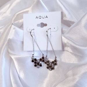 Aqua Silver Aurora Crystal Dangle Hook Earrings